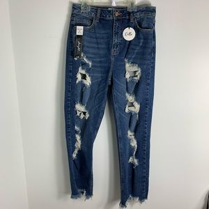 Cello high Rise straight distressed jeans